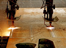 Precision plasma cutter at work