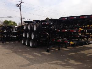 Stack of 3x  20-40 Foot Tri-Axle 12 Pin Slider Chassis