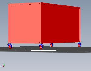 20 Foot Container with Casters - Render